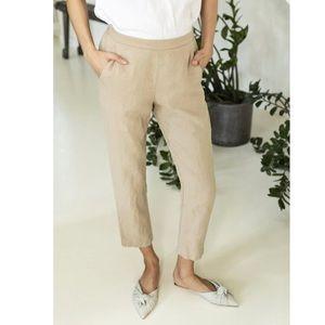 Linen ID neutral linen elastic waist tapered pants